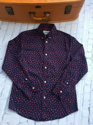 Johnnie B navy blue long with red starts long sleeved shirt age 11-12